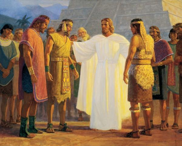 """Christ with Three Nephite Disciples"" by Gary L. Kapp"
