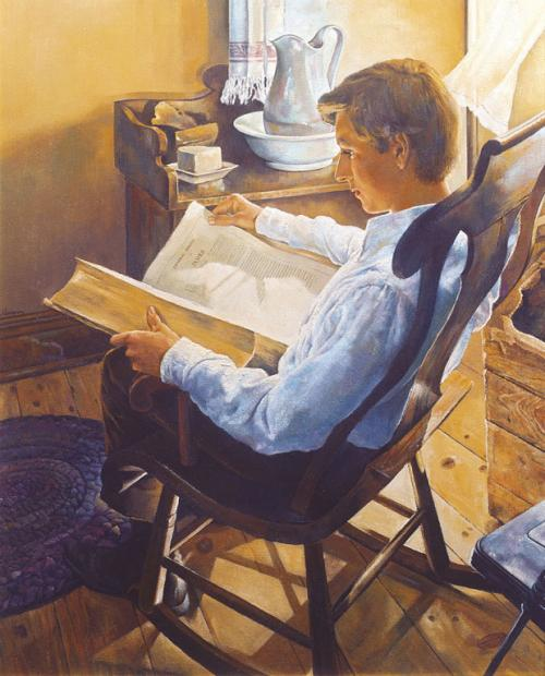 """Joseph Smith Seeks Wisdom from the Bible"" by Dale Kilbourn. Image via lds.org"