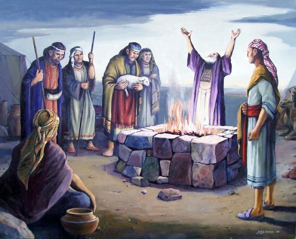 """""""Lehi dando gracias en altar"""" by Jorge Cocco"""