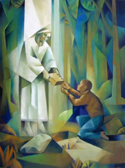 """Moroni Delivers the Plates to Joseph Smith"" by Jorge Cocco"
