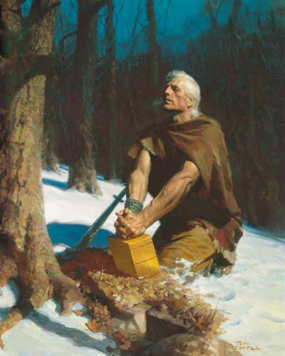 """Moroni Burying the Plates"" by Tom Lovell"