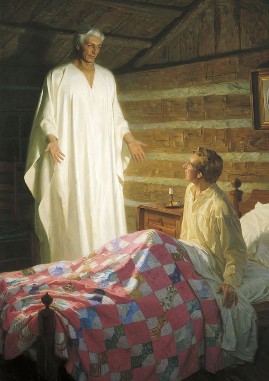 The Angel Moroni Appears to Joseph Smith by Tom Lovell. Image via lds.org