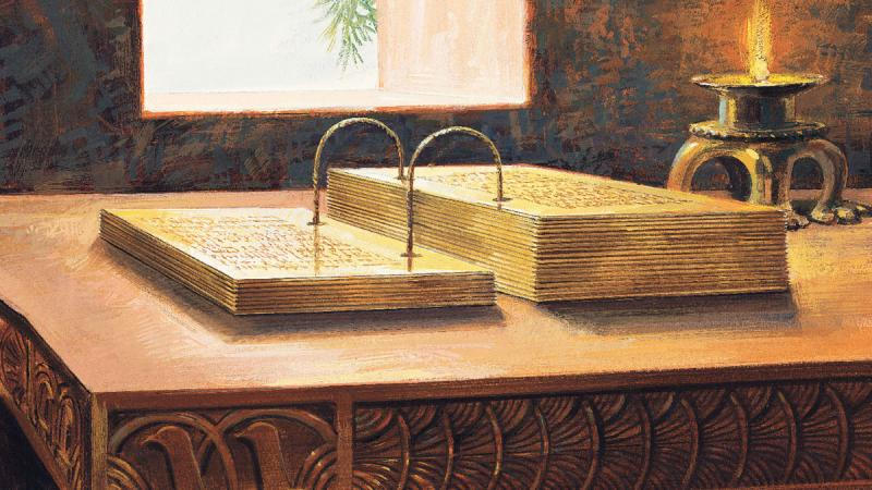 A painting depicting gold plates by Jerry Thompson. Image via lds.org