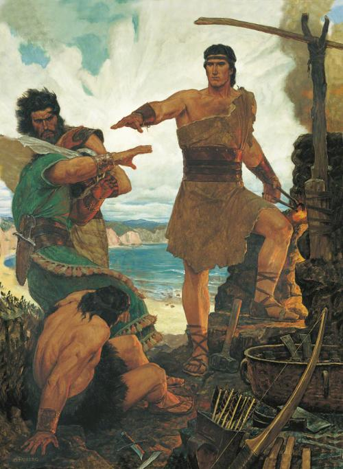 Nephi Rebuking his Rebellious Brothers by Arnold Friberg. Image via lds.org