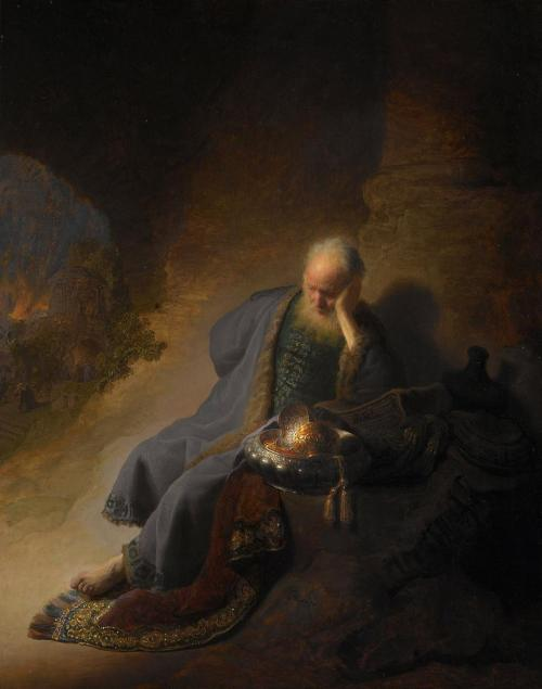 Jeremiah Lamenting the Destruction of Jerusalem by Rembrandt van Rijn. Image via Wikipedia
