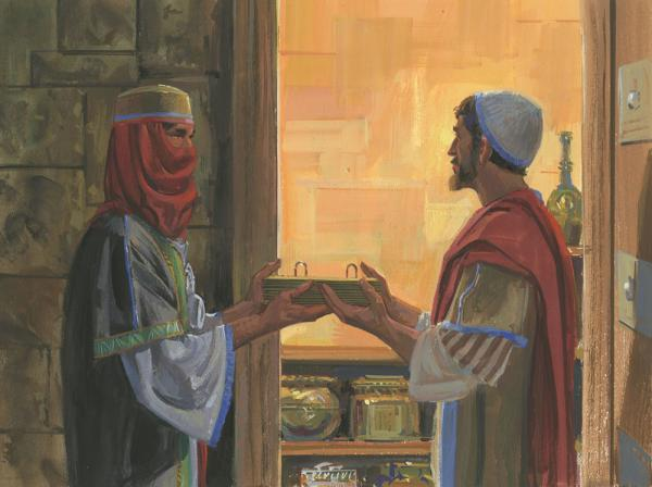 Zoram giving Nephi the plates. Image by Robert T. Barrett