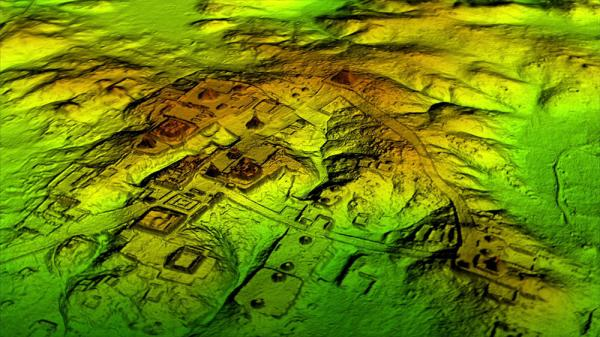 Guatemalan LiDAR graphical image, showing roads. Image via National Geographic.