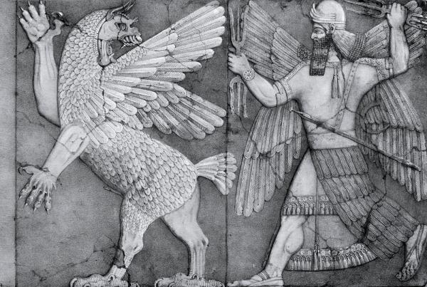 A bas-relief thought to be of Marduk and Tiamat from a temple at Nimrud dates the legend to at least the reign of Ashurnasirpal II (883-859 BC). Image via Wikimedia Commons
