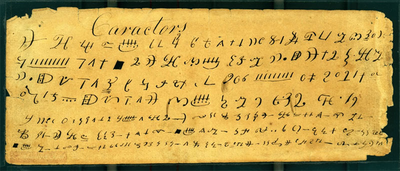 Image of the Caractors Document. Image via The Joseph Smith Papers.