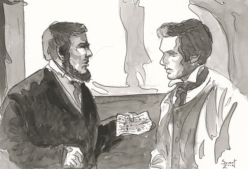 Martin Harris and Charles Anthon. Watercolor by Anthony Sweat.