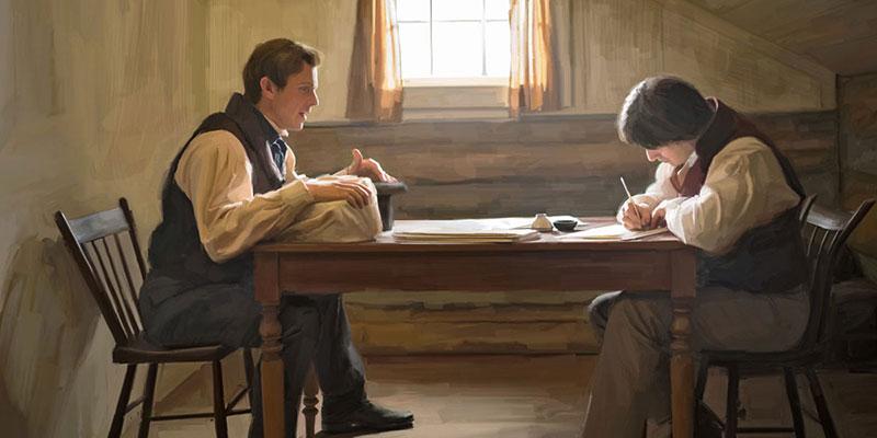 Joseph Smith translating the Book of Mormon via lds.org