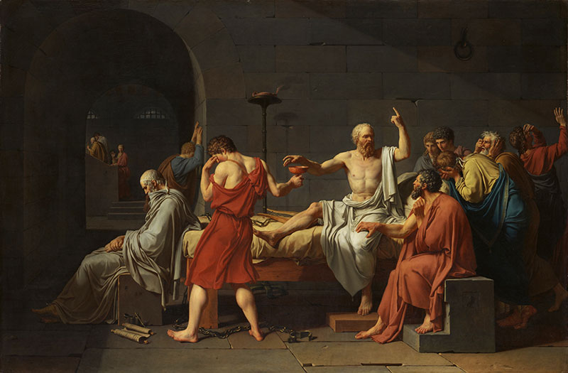 The Death of Socrates by Jacques-Louis David. Image via Wikimedia Commons.