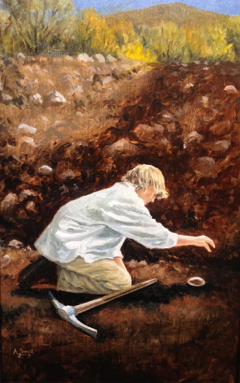 Joseph Smith Finds a Seer Stone. Painting by Anthony Sweat.