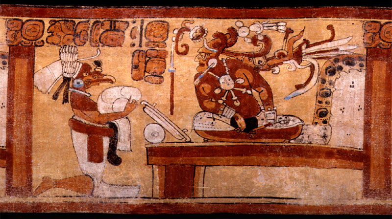 Roll-out of Classic Maya polychrome vase K5764 detailing possible use of a scrying mirror. Image via the Maya Vase Database.
