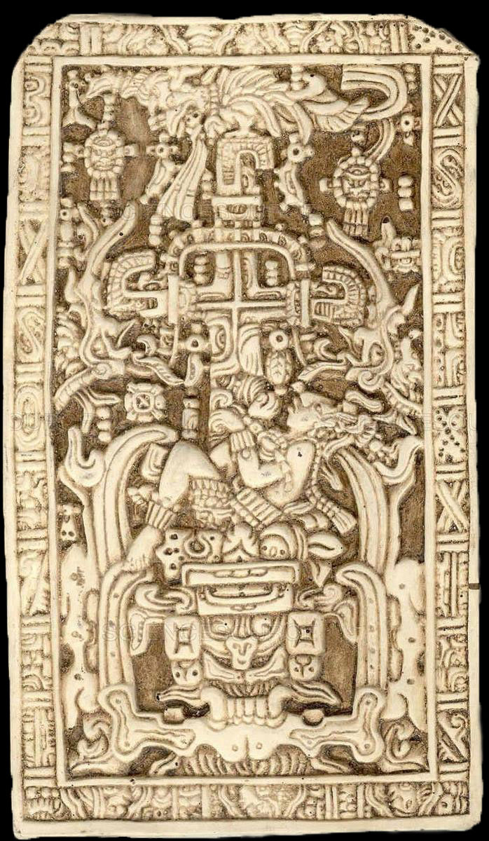 The world tree arising from the body of the sacrificed maize god. Sarcophagus lid of the Tomb of Pakal, 7th century, Palenque. Image via New York Public Library, sciencesource.com.