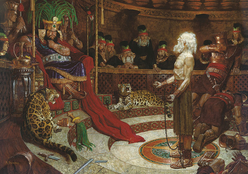 Abinadi Appearing before King Noah by Arnold Friberg. Image via Gospel Media Library.