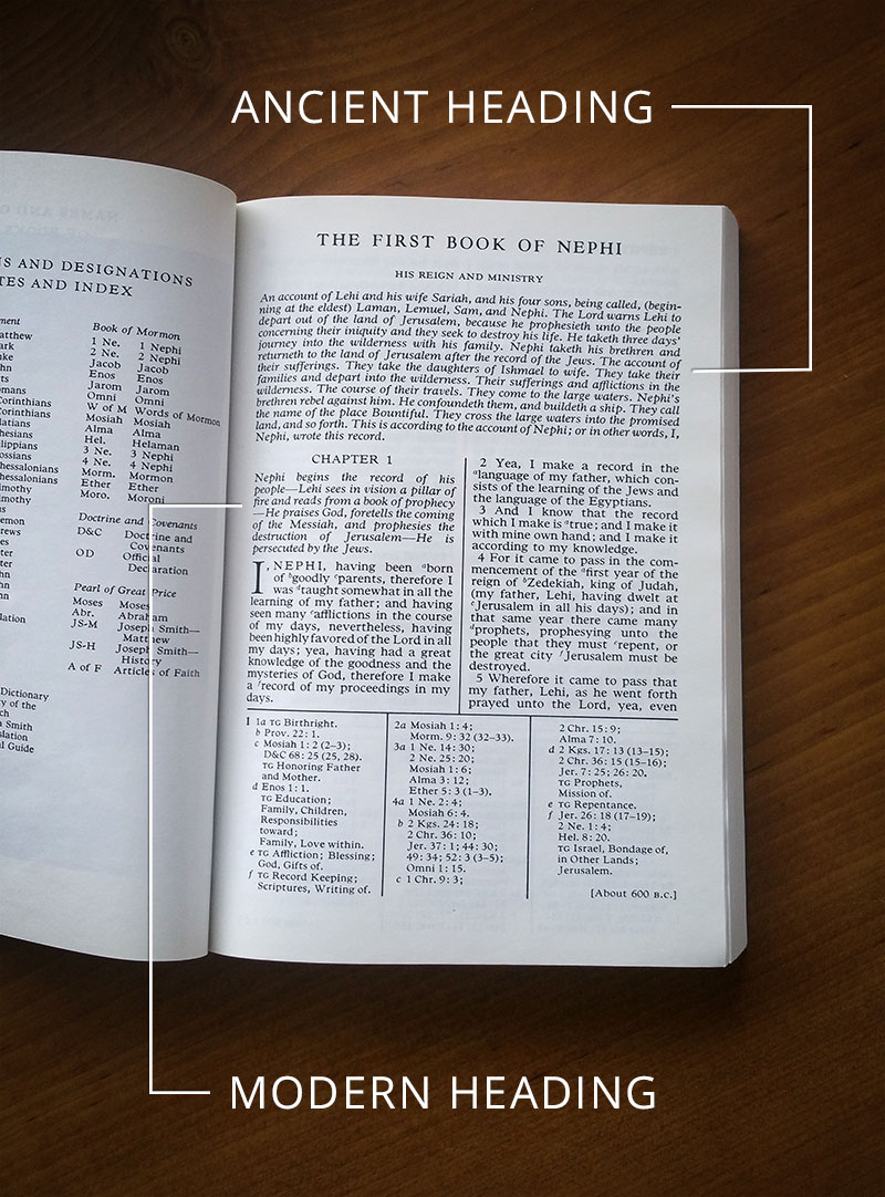 The ancient and modern headings of 1 Nephi. Image by Book of Mormon Central.