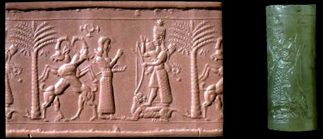 Cylinder Seal depicting a scene from the Descent of Ishtar. This artifact is Neo-Assyrian and dates to approximately 720-700 B.C. Image from piney.com
