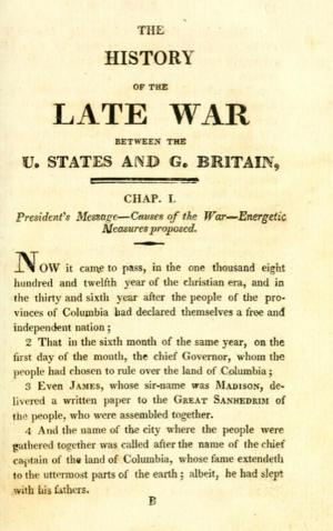 Title page of Gilbert Hunt's The Late War