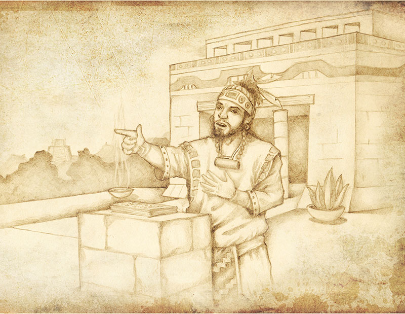 Illustration of Jacob teaching in the Nephite temple. Illustration by Jody Livingston.