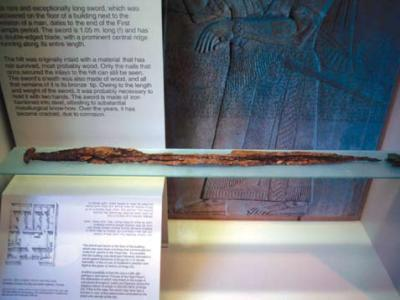 This sword from Jericho dates to about 600 BC and is on display in the Israel Museum. Photograph by Jeffrey R. Chadwick