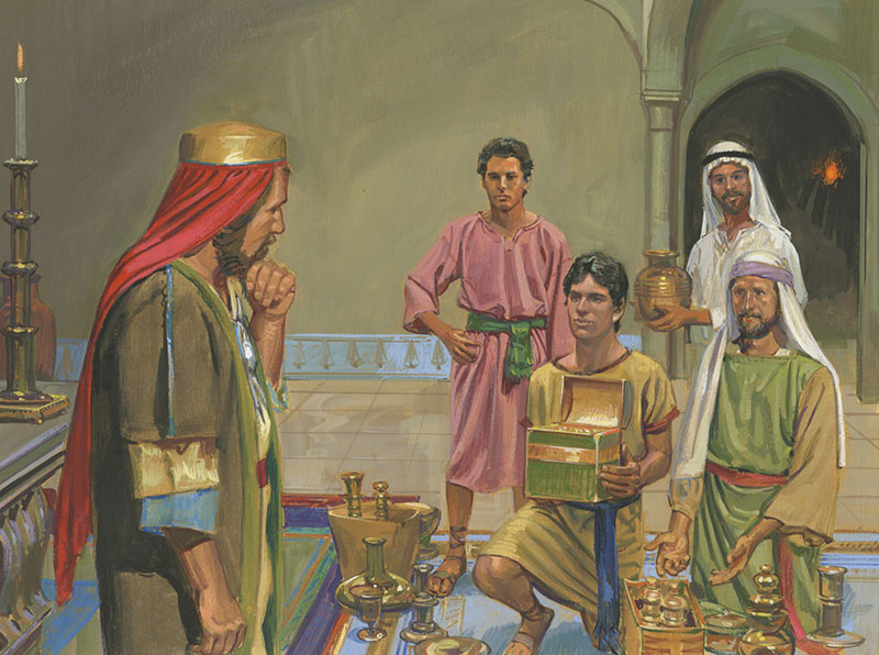 Lehi's Sons Offering Riches to Laban. Illustration by Jerry Thompson via Gospel Media Library.