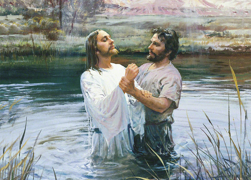 John Baptizing Jesus by Harry Anderson. Image via LDS Media Library.
