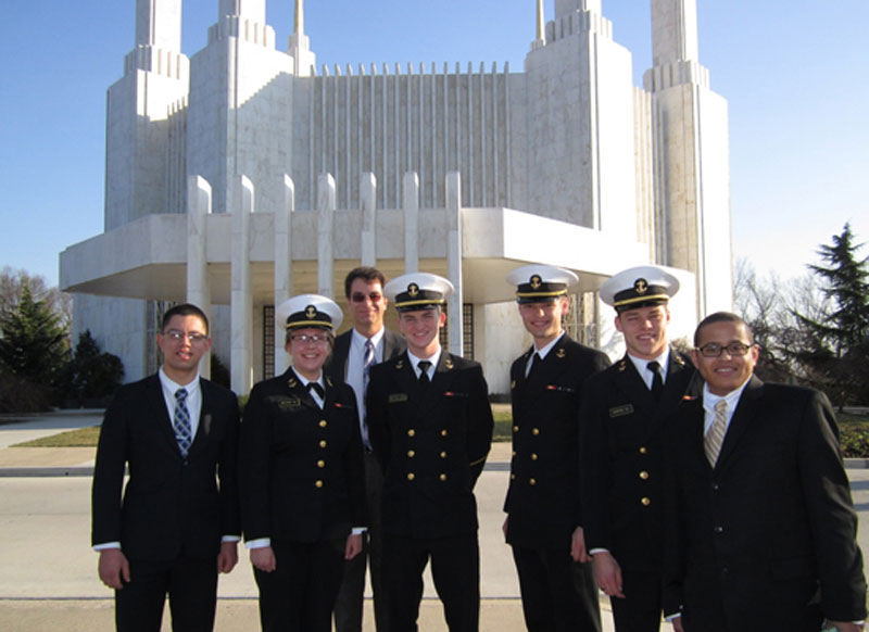 Several Latter-day Saint midshippen attending the Washington D.C. Temple. Read their story at lds.org