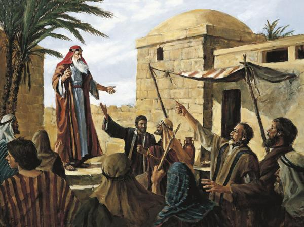 Lehi Preaching in Jerusalem by Arnold Friberg. Image via lds.org