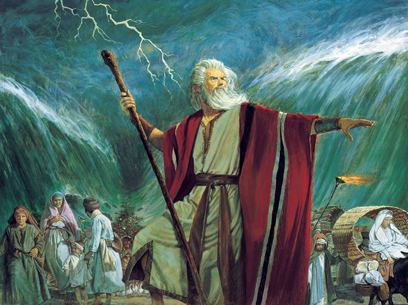 Moses Parting the Red Sea, by Robert T. Barrett. Image via Gospel Media Library.