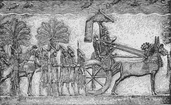 Sennacherib during his Babylonian war, relief from his palace in Nineveh. Image via Wikimedia Commons