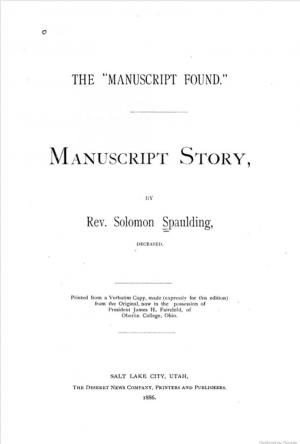 The title page of Solomon Spaulding's Manuscript Found