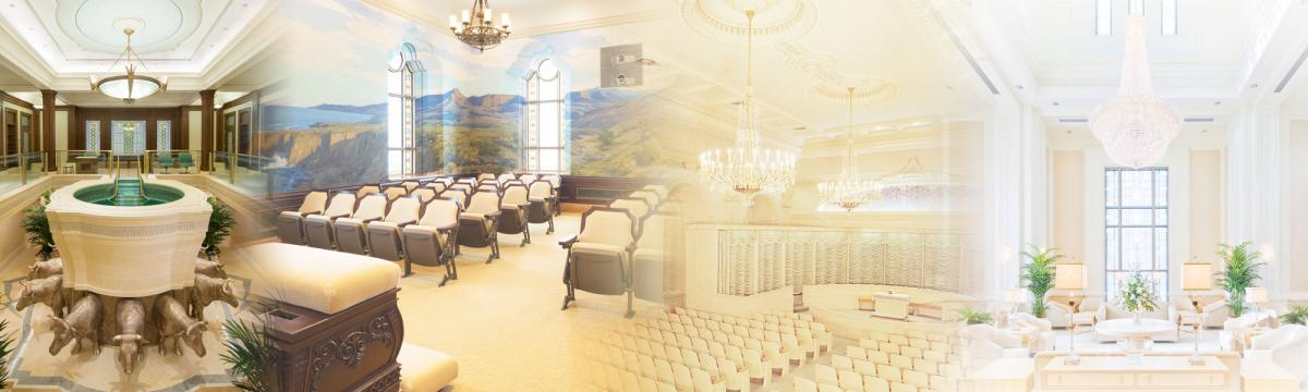 Images of rooms inside an LDS temple