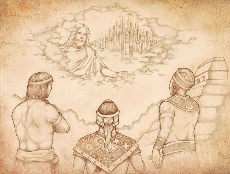 The Three Nephites see a vision of Christ. Drawing by Jody Livingston.