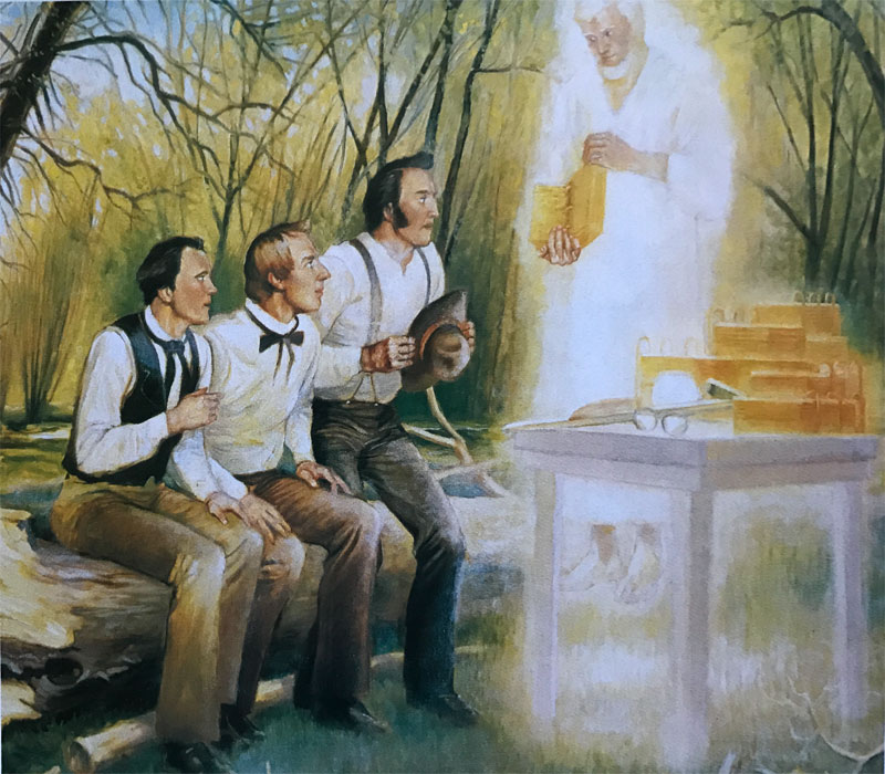 Painting of the angel Moroni showing the gold plates to the Three Witnesses. Artist unknown.