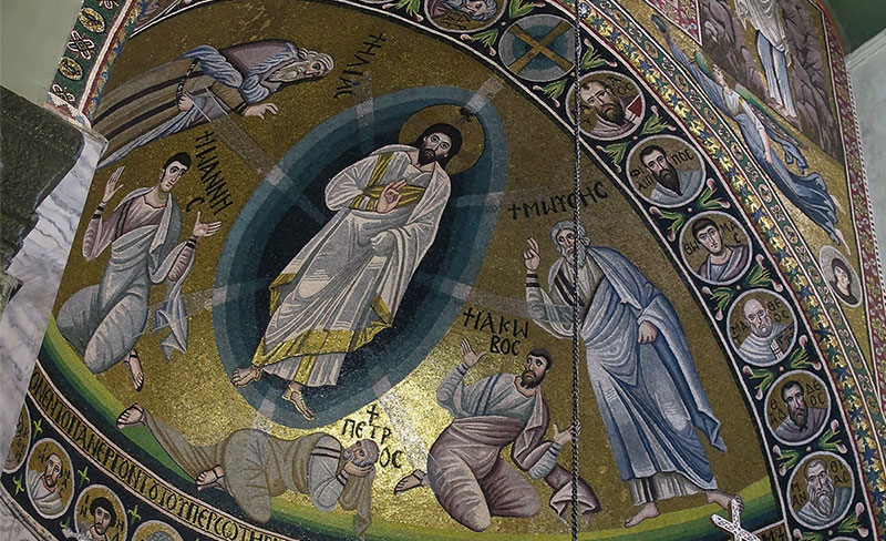 Mosaic of the Transfiguration of Christ above the altar in the chapel at St. Catherine's monastery in the Sinai. Photo by Laura Paskett.