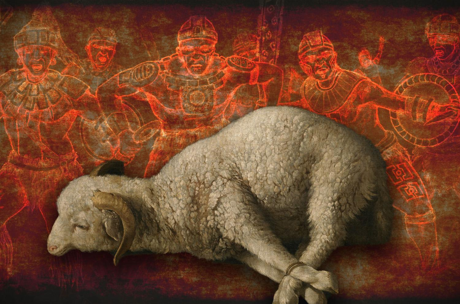 The Gadianton robbers and their lamb-skin. Image by Book of Mormon Central.