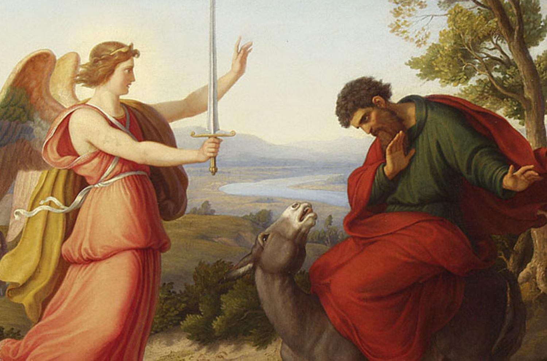 Balaam and the angel, painting from Gustav Jaeger, 1836 via Wikipedia
