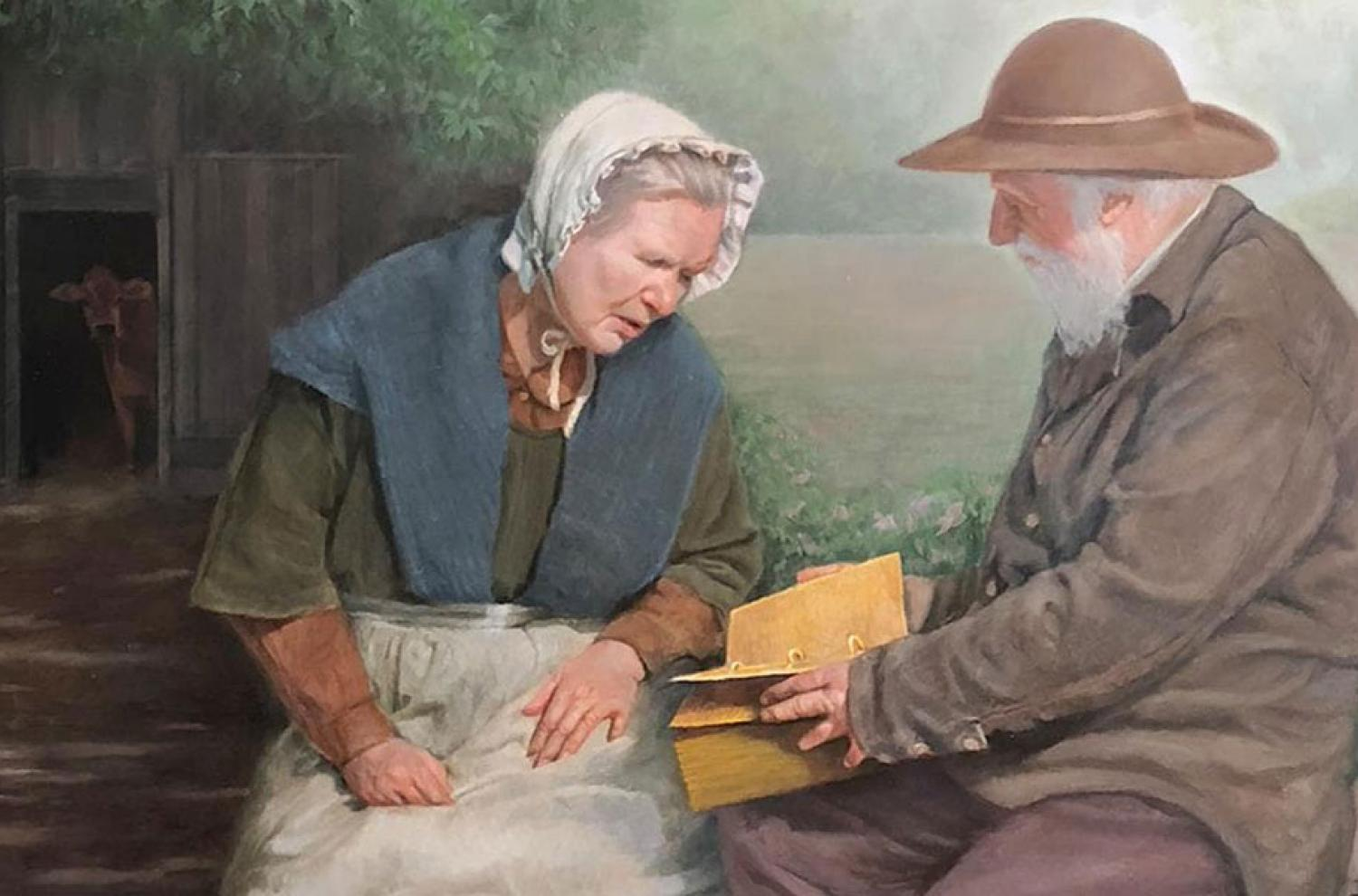 """""""Mary Whitmer and Moroni"""" by Robert T. Pack"""