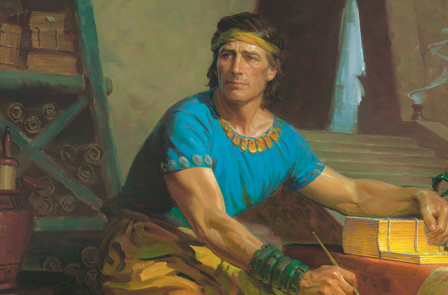Mormon Abridging the Plates by Tom Lovell. Image via LDS Media Library
