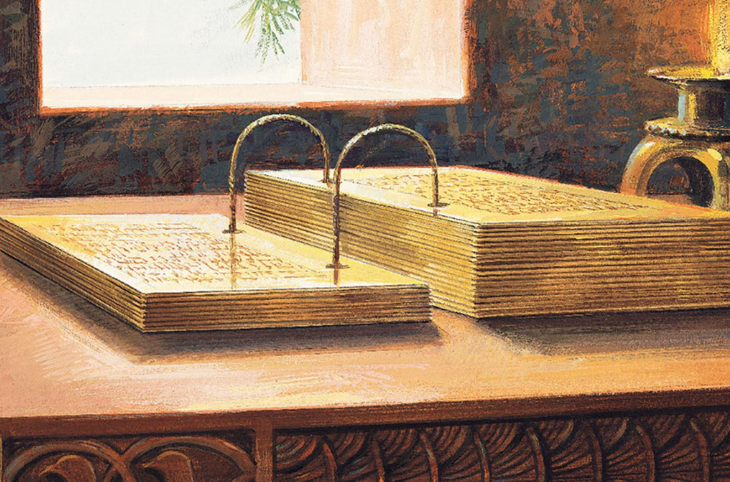 A painting depicting gold plates by Jerry Thompson. Image via Gospel Media Library.