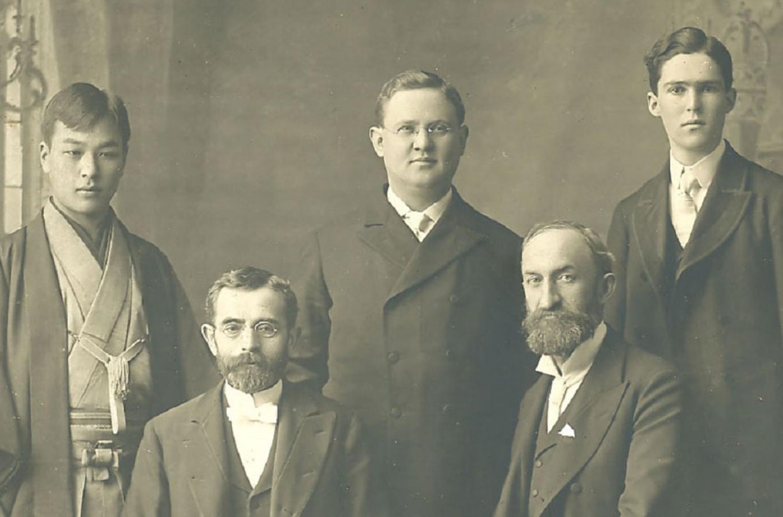 Elder Alma Taylor, Heber J. Grant, and Fellow Missionaries via Gospel Media Library