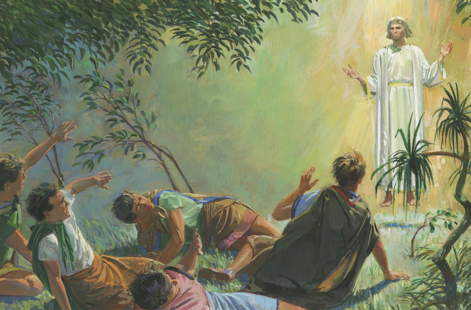 """""""Angel Appears to Alma and the Sons of Mosiah"""" by Jerry Thompson via Gospel Media Library"""
