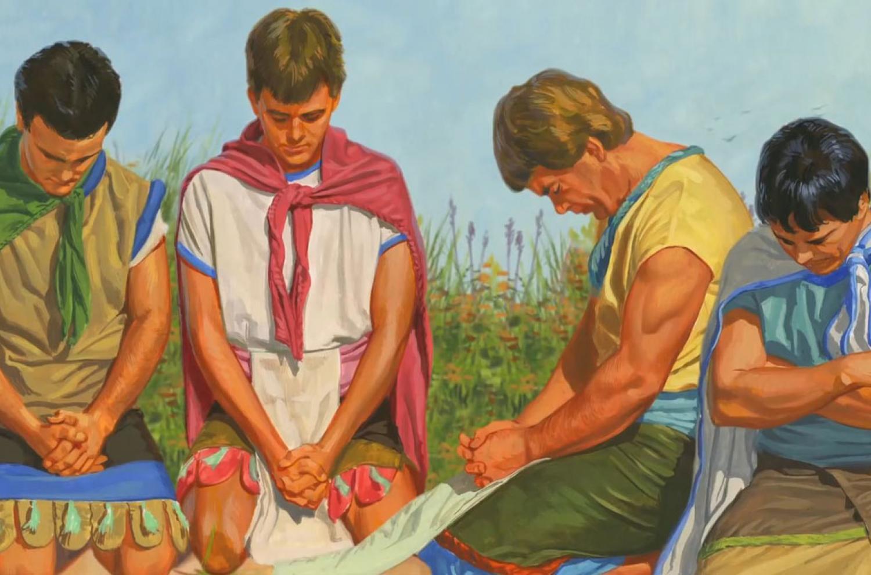 """Sons of Mosiah Praying"" via Gospel Media Library"