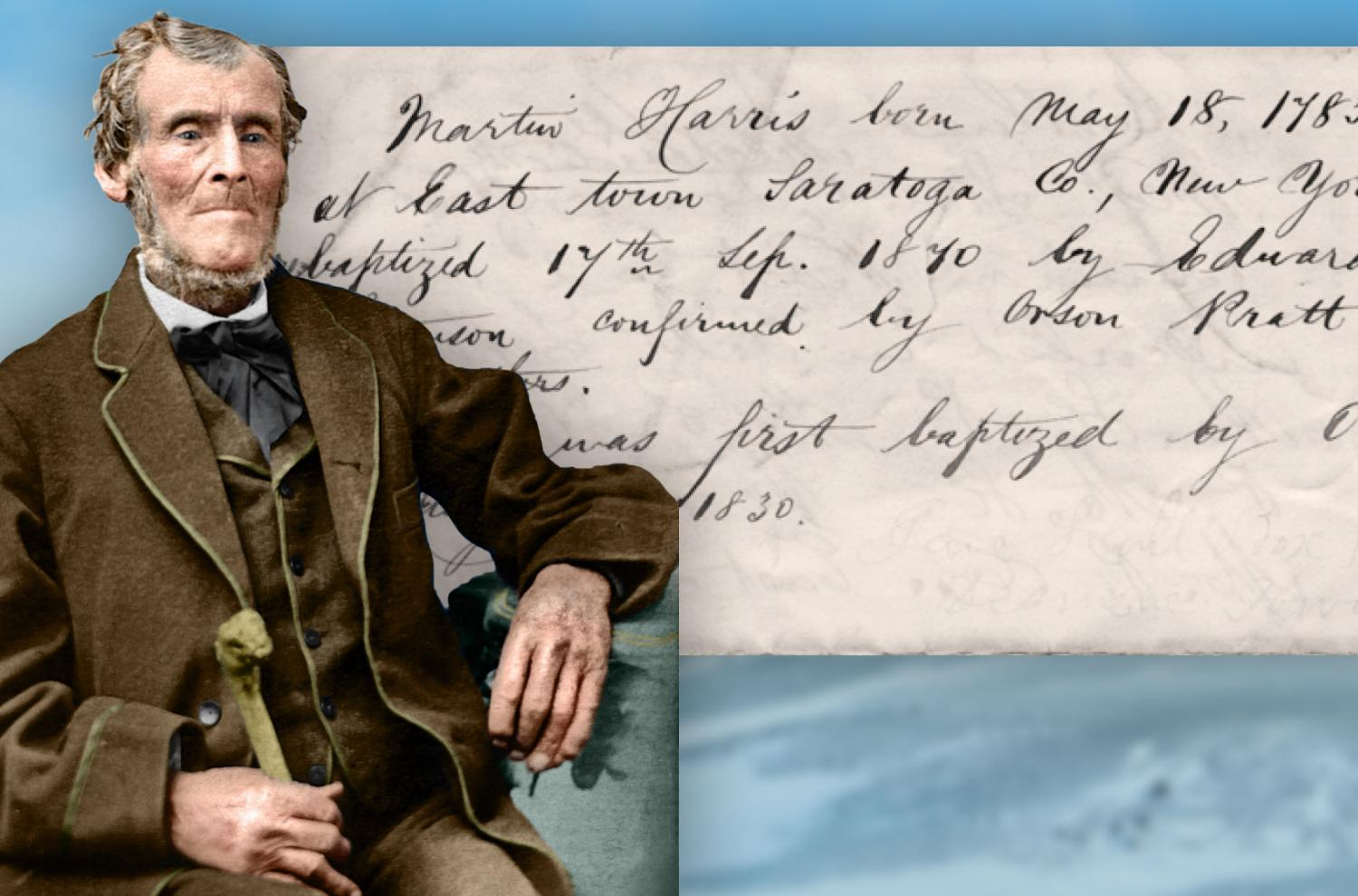Portrait of Martin Harris colorized by Bryce M. Haymond. Martin Harris's baptism certificate courtesy of Trace Mayer.