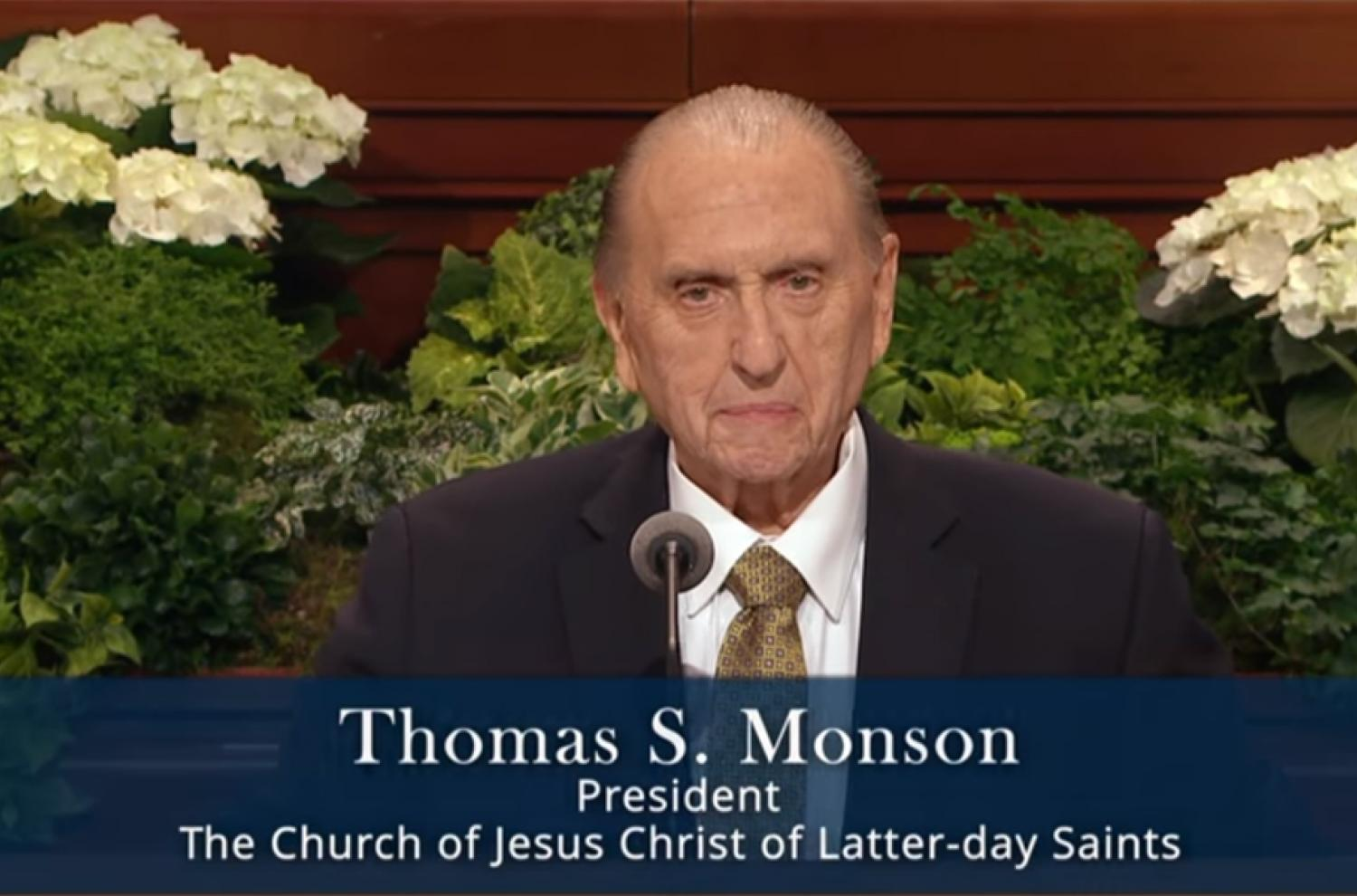 Thomas S. Monson at the April 2017 Conference via lds.org