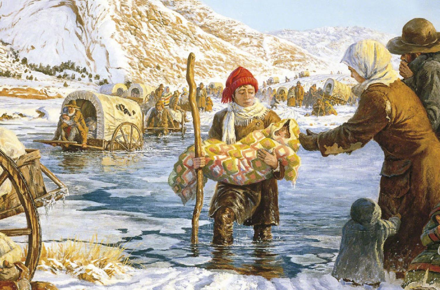 Helping the Martin Handcart Company across the Sweetwater River, by Clark Kelley Price via lds.org