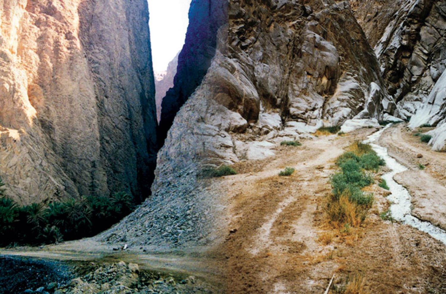 Two images of Wadi Tayyib al-Ism via lds.org