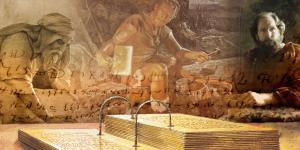 Lehi, Nephi, and Jacob utilizing the plates. Image via Book of Mormon Central.