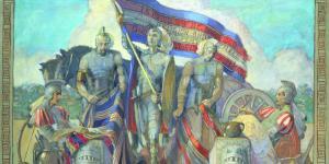 Moroni and the Title of Liberty, Minerva Teichert.